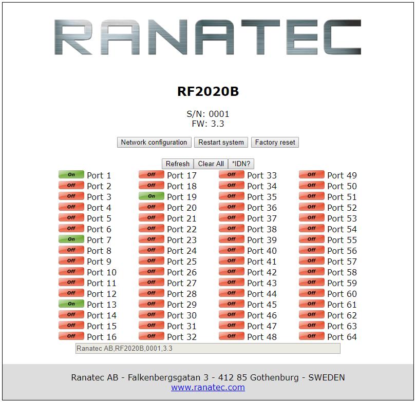 RF2020B Web interface | Ranatec