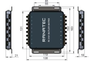 RI 3101 Butler Matrix mechanical outline drawing | Ranatec